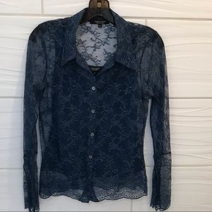 💥Karen Kane lace button up blouse top size S